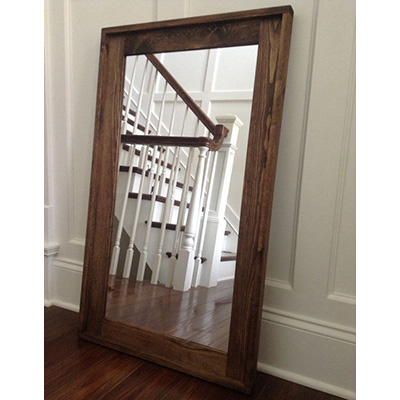 Mirror with Natural Wood Frame